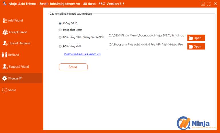 huong dan chenge IP bang phan mem ninja add friend 1 Hướng dẫn tính năng change IP bằng phần mềm Ninja Add Friend