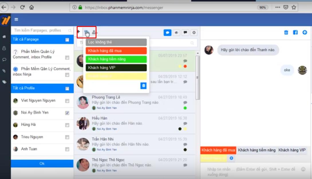 tin nhan mau ninja fanpage5 Cách quản lý nhóm theo thẻ bằng phần mềm quản lý inbox Ninja Fanpage