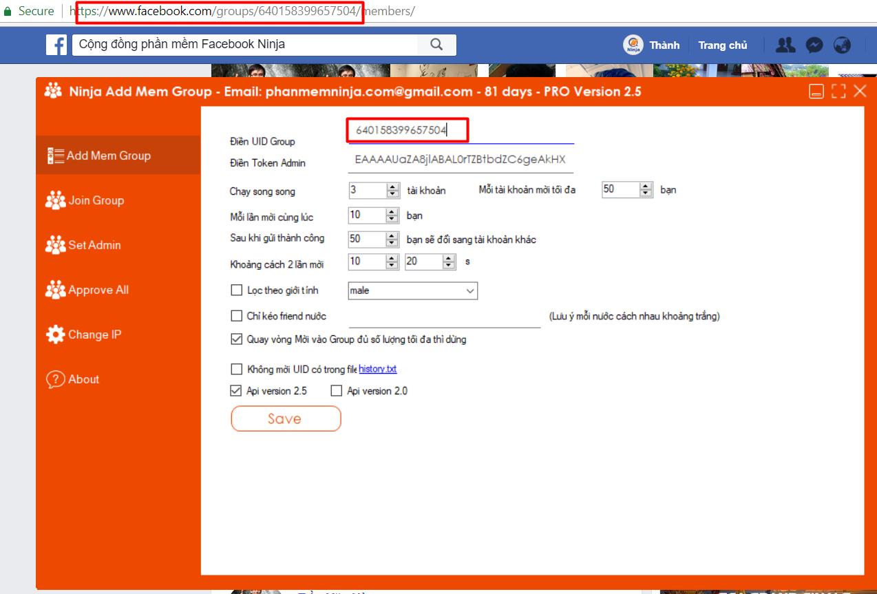 luu y ninja add mem2 Hướng dẫn 5 bước để sử dụng phần mềm kéo mem facebook Ninja Add Mem hiệu quả