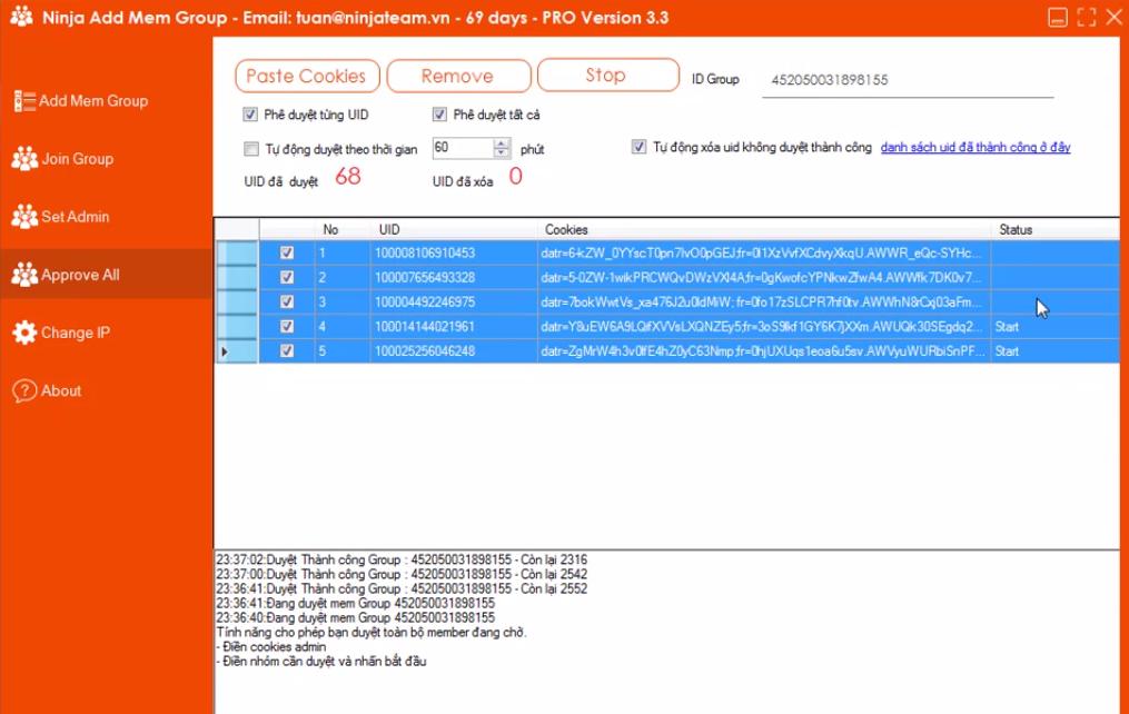 phe duyet thanh vien cho ninja add mem2 Hướng dẫn tính năng Approve All duyệt thành viên nick phụ bằng tool add mem group