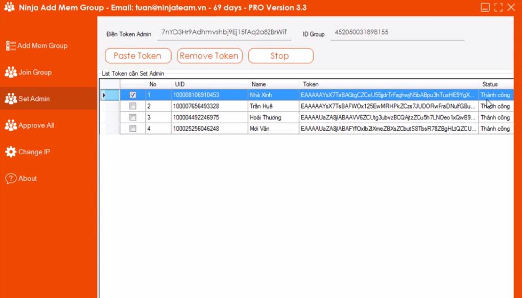 set admin add mem group1 Cách set Admin bằng phần mềm kéo thành viên group Ninja Add Mem Group