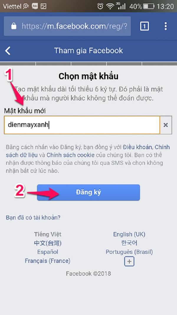 cách tạo facebook